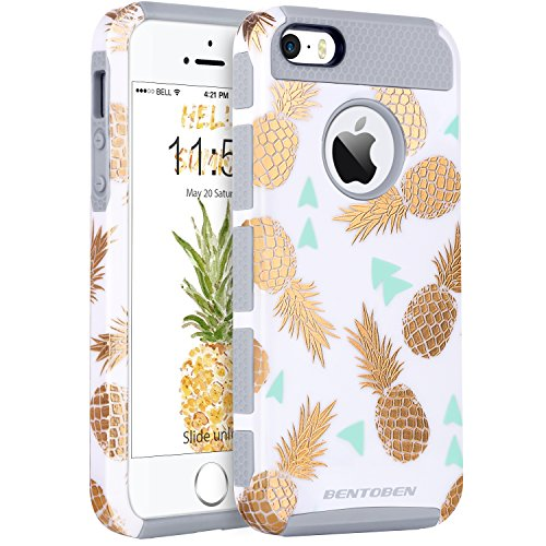 iPhone SE 5S 5 Case, iPhone SE 5S 5 Case Pineapple, BENTOBEN 2 in 1 Slim Gold Pineapple Design Hard PC Soft TPU Glossy Anti-Scratch Shockproof Protective Case Cover for iPhone SE 5S 5,White/Gold