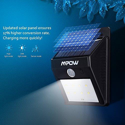 Mpow Focos Solares 8 Leds de Pared, Faro Solar con Sensor de Movimiento,Lš¢mparas Solares al Aire Libre para Jardšªn Patio Camino de Entrada Escaleras y ...