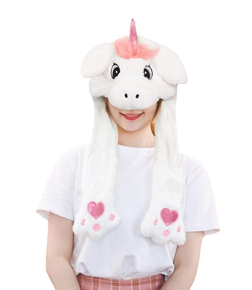 dressfan Women Girls Funny Plush Animal Ear Hat Toy Birthday Gift With Moving Ears Pressing the Animal Cap Will Make the Ears Move Girls Boys Kids Women Cosplay