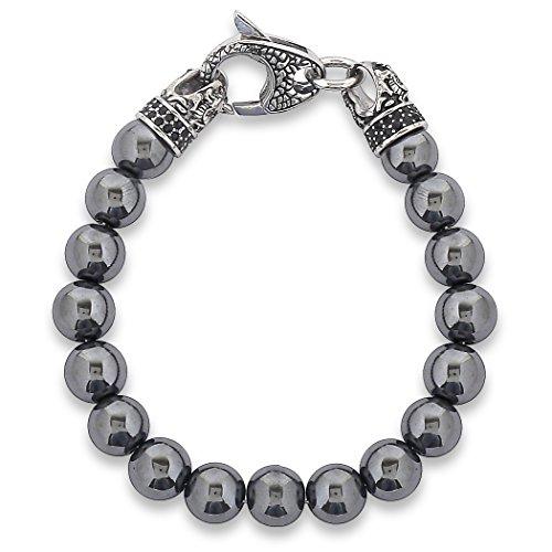 - West Coast Jewelry | Crucible Men's Antiqued Stainless Steel Clasp Hematite Stone Beaded Bracelet (10mm) - 8.5