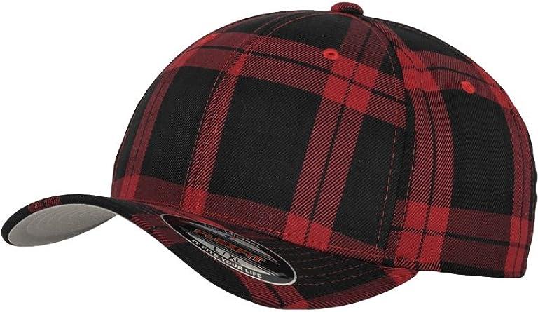Flexfit-Gorra, diseño de Cuadros Escoceses, Color Negro y Rojo ...