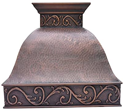 """Sinda Copper Kitchen Range Hood with High Airflow Centrifugal Blower, Includes SUS 304 Liner and Baffle Filter, High CFM Vent Motor, Wall/Island/Ceiling Mount, Width 30/36/42/48 in (W36""""xH48""""Wall)"""