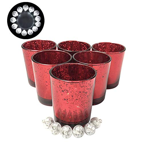 COOTUR Mercury Glass Votive Candle Holder 2.75'' H (6pcs, Speckled Red)-Mercury Glass Votive Tealight Candle Holders Weddings Home Decor Birthday Party Celebration by COOTUR