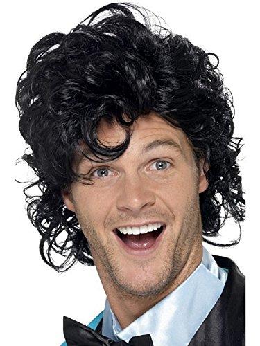 [Smiffy's Men's 80's Prom King Perm Wig, Black, One Size] (Perm Wigs)