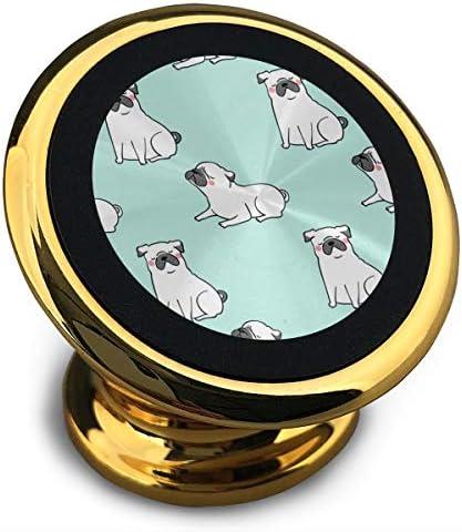 白いパグ犬のパターン 携帯電話ホルダー おしゃれ 車載ホルダー 人気 磁気ホルダー 大きな吸引力 サポートフレーム 落下防止 360度回転