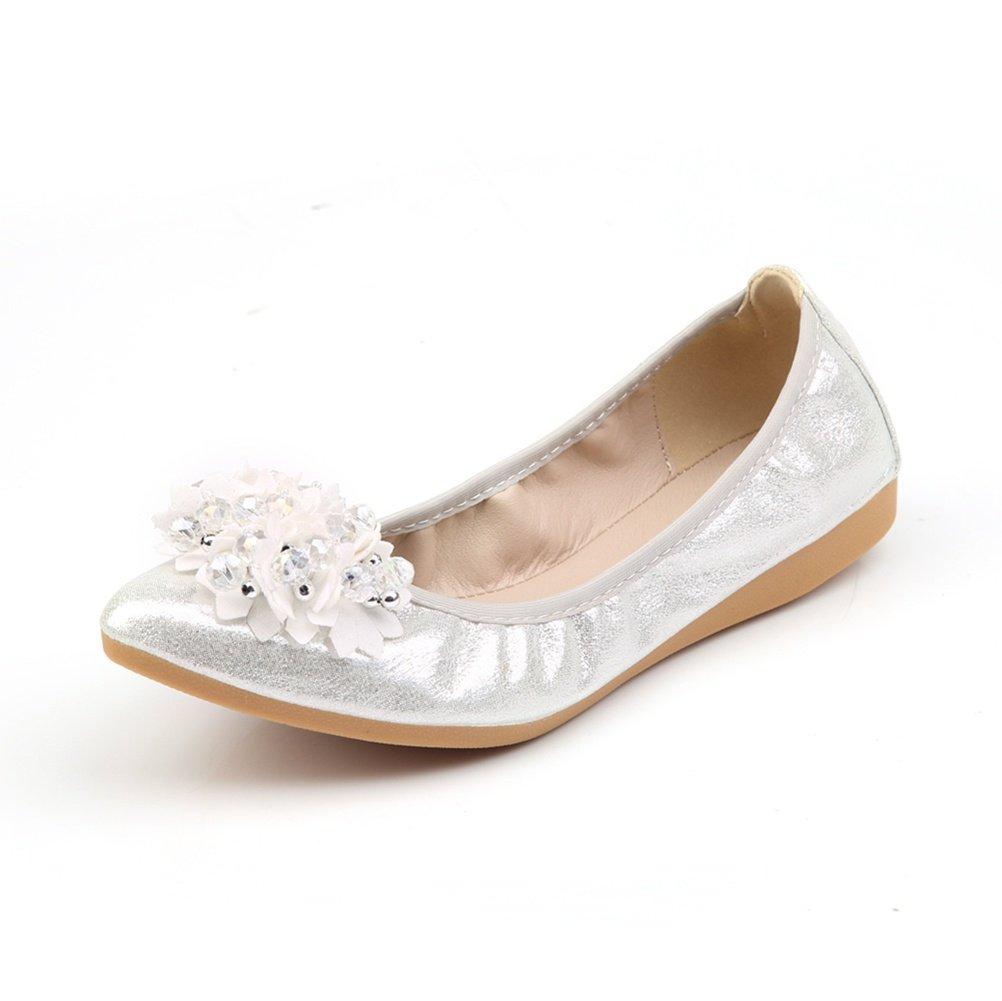 Meeshine Womens Foldable Soft Pointed Toe Ballet Flats Rhinestone Comfort Slip On Flat Shoes (10 B(M) US, Silver 03)