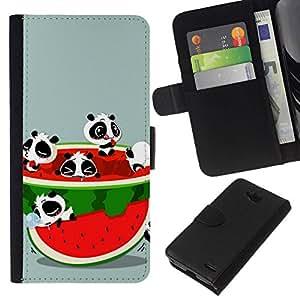 // PHONE CASE GIFT // Moda Estuche Funda de Cuero Billetera Tarjeta de crédito dinero bolsa Cubierta de proteccion Caso LG OPTIMUS L90 / Funny Cute Animals & Watermelon /