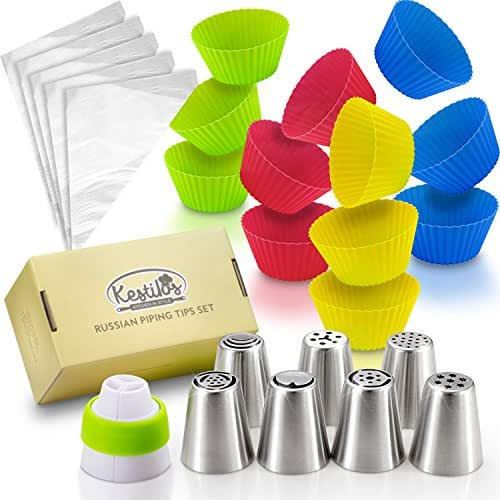 SALE! Russian Piping Tips Set By Kestilos – 7 Cake & Cupcake Decorating Icing Nozzles, A 3 Color Coupler, 5 Disposable Pastry Bags & 12 Silicon Cupcakes Molds