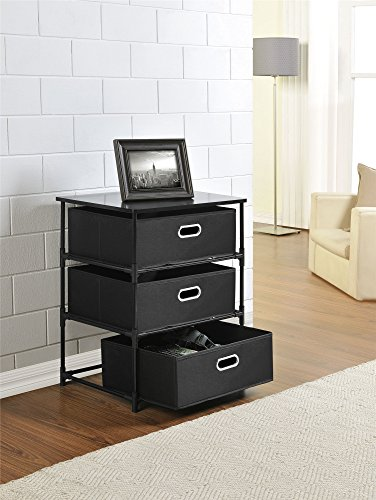 Ameriwood Home Sidney 3 Bin Storage End Table, Black