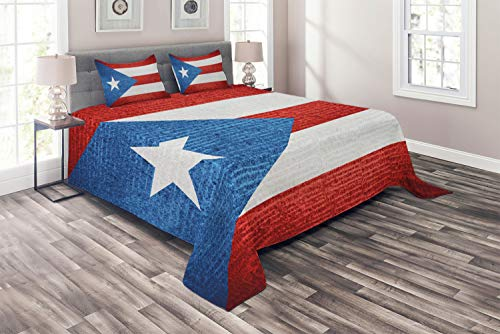Lunarable Puerto Rico Coverlet, Stripe Style Rows Pattern Grunge Arrangement with Patriot Flag, 3 Piece Decorative Quilted Bedspread Set with 2 Pillow Shams, Blue Vermilion and White