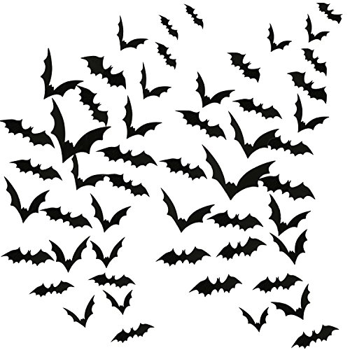 Aneco 120 Pieces Scary Black Bats Decal 3D Black Bats Stickers Wall Decals for Home Decor or Halloween Party Supplies, Assorted Size ()