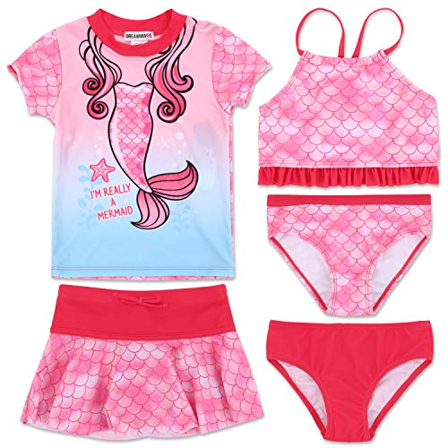 - Toddler Girl Mermaid 5 Piece Mix and Match Swimsuit Set 5T