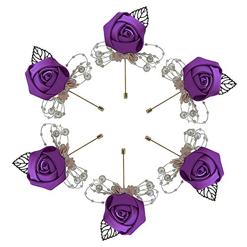 Buery 6 Pieces/lot Wedding Boutonniere Handmade Rose Boutonniere Corsage with Pin, Lapel Pin Rose Wedding Boutonniere for Wedding Prom Party Decor - Purple Boutonniere