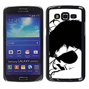 LASTONE PHONE CASE / Slim Protector Hard Shell Cover Case for Samsung Galaxy Grand 2 SM-G7102 SM-G7105 / Sunglasses Black White Art Portrait Man Face