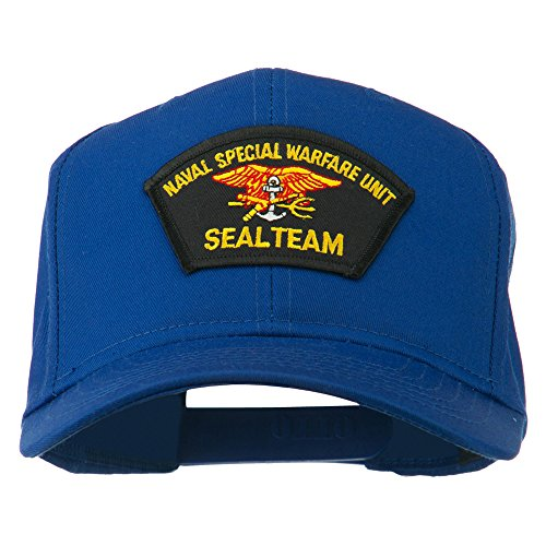 Naval Warfare Seal Team Military Patched Cotton Twill Cap - Royal OSFM