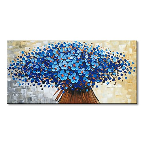 (Winpeak Art Hand Painted Abstract Canvas Wall Art Modern Textured Blue Flower Oil Painting Contemporary Artwork Floral Hanging Home Decoration Stretched and Framed Ready to Hang (48