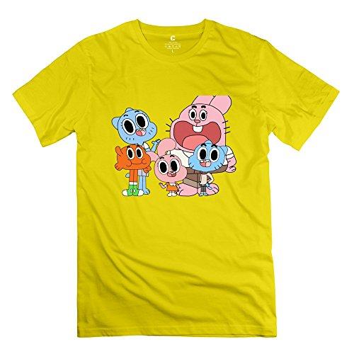 Men The Amazing World Of Gumball Custom O Neck Yellow T Shirt By Mjensen (The Amazing World Of Gumball The Castle)