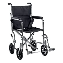 """Go Cart Light Weight Steel Transport Wheelchair with Swing Away Footrest, 19"""" Seat"""