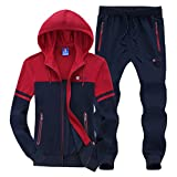 big and tall sweat suits - Modern Fantasy Men's Colour Blocking Winter Casual Tracksuit Running Joggers Sports Sweatsuit Big Darkblue XL