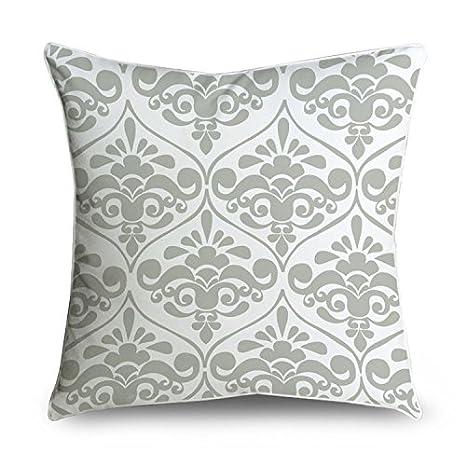 fabricmcc elegante gris y blanco floral Damask manta decorativa Funda de almohada Funda para cojín funda de almohada, algodón, gris, blanco, 30x50cm
