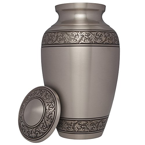 Silver Funeral Urn by Liliane Memorials - Cremation Urn for Human Ashes - Hand Made in Brass -Suitable for Cemetery Burial or Niche - Large Size fits remains of Adults up to 200 lbs- Treviso Silver L by Liliane Memorials (Image #1)