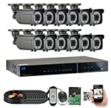 Cheap GWSecurity 16CH400WHD 16 Channel DVR + 12 x 1200TVL (720P) Vari-Focal Zoom 180 feet IR Outdoor / Indoor Security Camera System with Pre-Installed 2TB Hard Drive