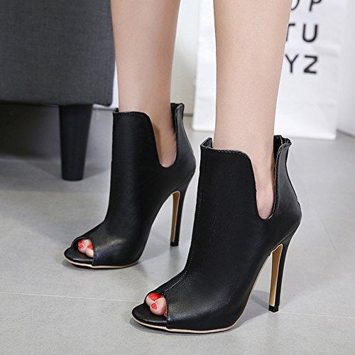 Schnitt Schwarz Stiletto Damen Sandale Reißverschluss Aisun U Toe Sexy Heels Sommerstiefel Kurzschaft Mit High Kunstleder Peep BwZYwx