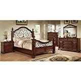 Best 247SHOPATHOME Kings Furniture King Size Beds - Landaluce Transitional Style Antique Dark Oak Finish Eastern Review