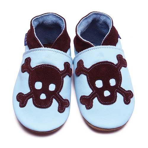 Inch Blue - 1820 L - Chaussures Bébé Souples - Skull - Bleu ciel / Chocolat - T 20-22 cm