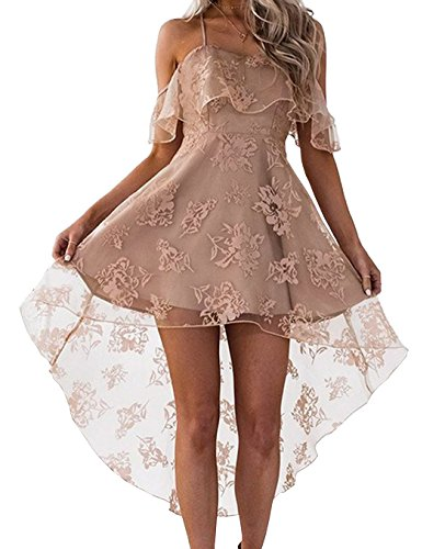 t Jeune Femmes Robes Sexy Jarretelles paule Dnude Volant Dos Nu Mini Robe de Plage Fashion Tulle Impression Irregulier Court Robes Cocktail Party de Soire Abricot