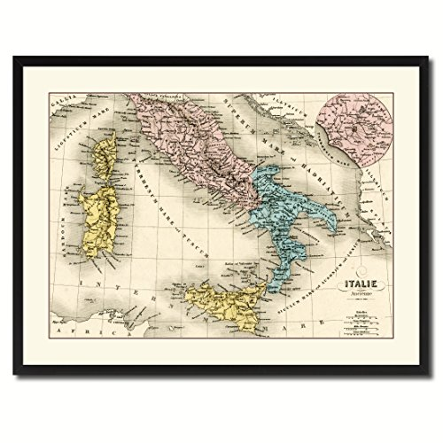 Italy Rome Vintage Antique Map 36010 Print on Canvas with Picture Frame Gift Ideas Office Décor Livingroom Housewarming Birthday - Black 28