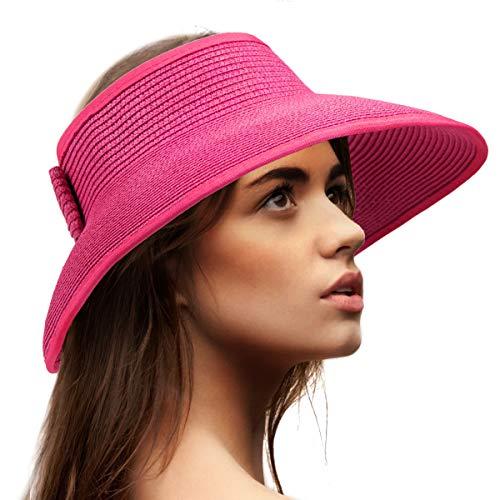 Visor Cap Women Sun Hat - Rose Red Hat for Women Sun Visor Straw Hat UV Visor