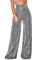 Women's Stretchy Glitter High Waist Wide Pants