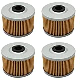Cyleto Oil Filter Motorcycle/Powersports For Honda CBR250R 2011-2013 CRF250L 2013-2015 TRX250 X 1987-1992 (Pack of 4)