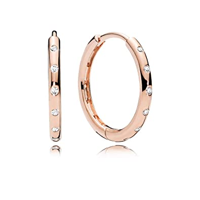 9eefb020e Image Unavailable. Image not available for. Color: PANDORA Hoop Earrings in PANDORA  Rose ...