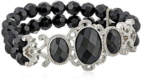 """Jeweled Filigree"" Silver-Tone Beaded Stretch Bracelet"