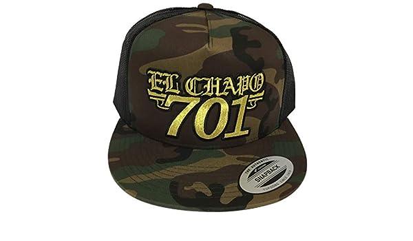 Capsnmore El Chapo Guzman 701 Hat Black Camo Mesh Snapback at Amazon Mens Clothing store: