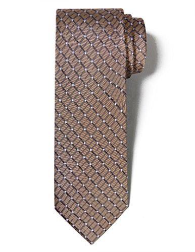 "Origin Ties Men's Fashion 100% Silk Handmade Painted Spot Easy-matching Pin dots & Plaid 3"" Tie Dark Gold"