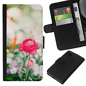 All Phone Most Case / Oferta Especial Cáscara Funda de cuero Monedero Cubierta de proteccion Caso / Wallet Case for LG Nexus 5 D820 D821 // Pink Red Field Summer Sun Spring