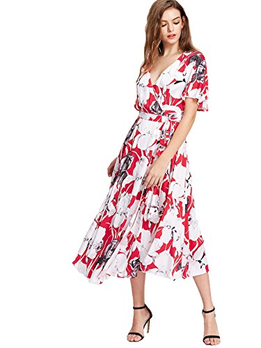 Milumia Women's Boho Split Tie-Waist Vintage Print Maxi Dress (X-Large, Multicolor-Red)