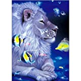 certainPL DIY 5D Diamond Painting by Number Kit, Rhinestone Embroidery Bird Lion Jellyfish Arts Craft, Partial Drill, 11.8x15.7 inches (D)