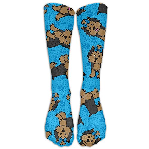 Puppy Volleyball Girl (Puppy Yorkie Fun Knee Socks High Volleyball Girls Knee-high Long Tube Socks)