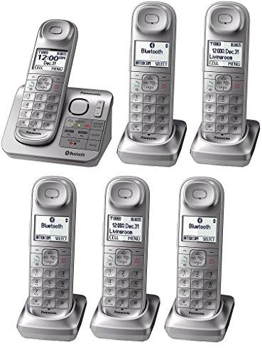 Panasonic KX-TGL463S plus three KX-TGLA40S Dect 6.0 link2Cell Bluetooth 6-Handset Landline Telephone, Silver & White (Renewed) (KX-TGL463S +3)