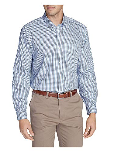 Eddie Bauer Men's Wrinkle-Free Relaxed Fit Pinpoint Oxford Shirt - Blues, Atlant
