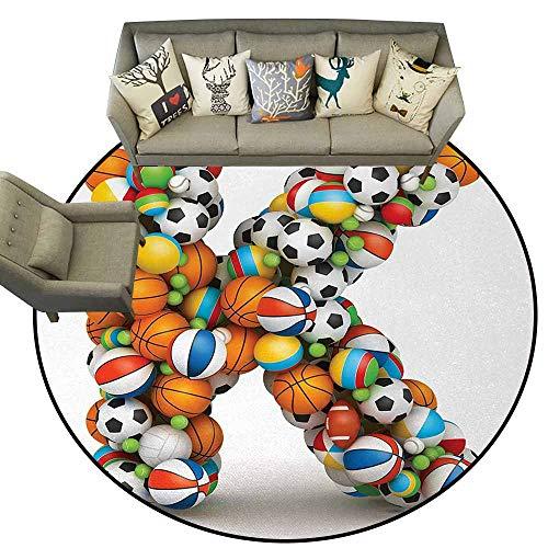 - Letter K,Multi-USE Floor MAT D78 Alphabet Letter with Gaming Balls of Popular Sports Fun Initial Monogram Design Runner Rugs Multicolor