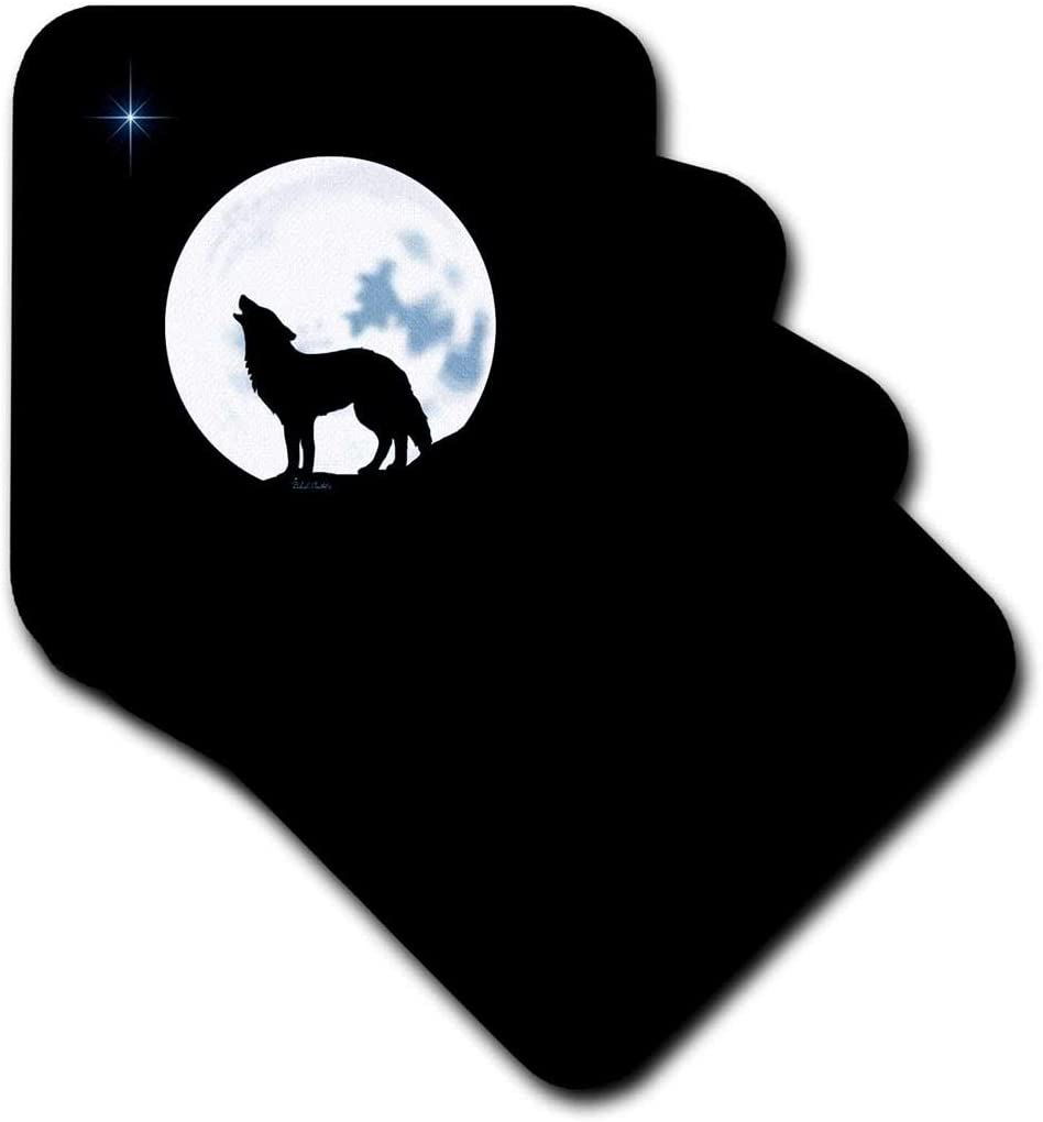 3dRose CST_11655_1 This Artwork Features A Lone Wolf in Silhouette Howling Beneath The Bright Full Moon-Soft Coasters, Set of 4