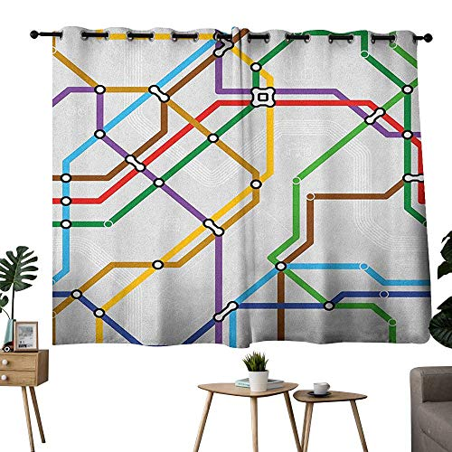 Woven Railroad Stripe - bybyhome Map Grommet Woven Darkening Curtains Stripes in Vibrant Colors Metro Scheme Subway Stations Abstract Railroad Transportation Curtain Kids Multicolor W63 x L72