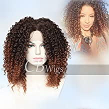 Cbwigs Ombre Brown Afro Kinky Curly Synthetic Lace Front Wig Heat Resistant Fiber Hair 2 Tone Half Hand Tied Fluffy Wigs for African American Women 16 inch #2/30