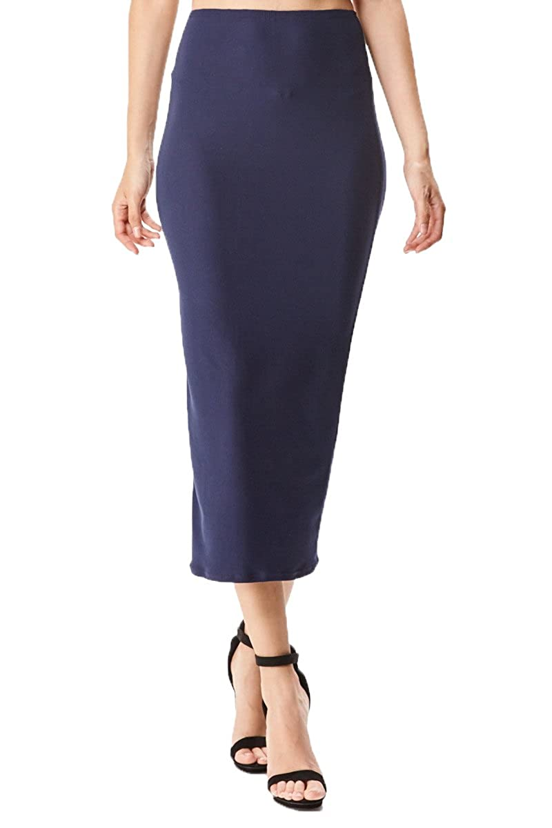 Navy Brushed Stretchy MoDDeals Women's Midi Long Pencil Straight Skirt Solid & Floral Maxi Casual, Office, Dressy Bodycon