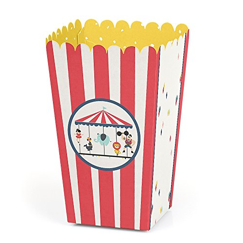 Carnival Circus - Cirque du Soiree - Baby Shower or Birthday Party Favor Popcorn Treat Boxes - Set of 12